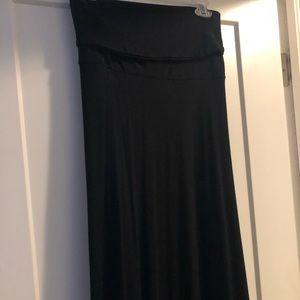 Foldover Black maxi skirt